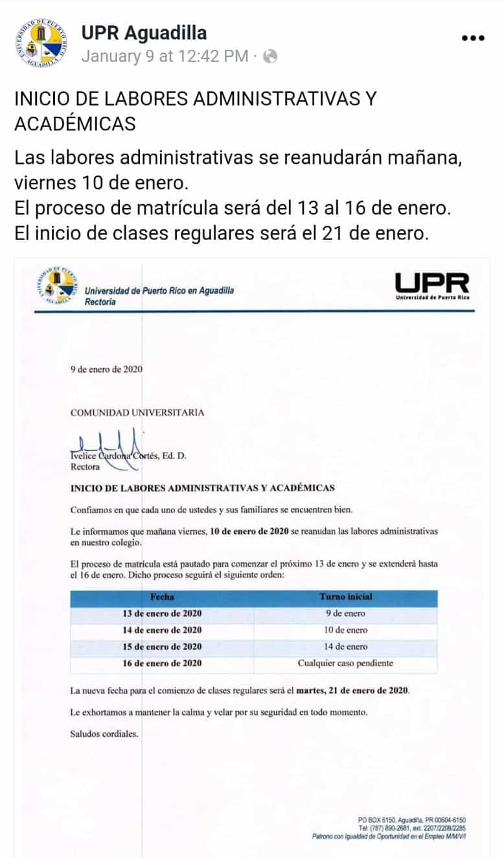 Evalúan unidades y recintos UPR tras eventos sísmicos
